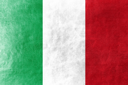 Italy Flag painted on leather texture photo