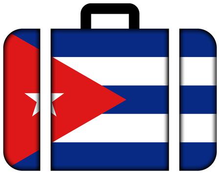 bandera cuba: Maleta con la bandera de Cuba Foto de archivo