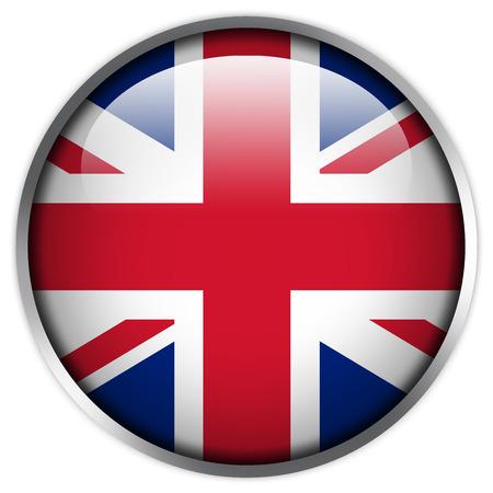bandera de reino unido: Bot�n brillante de la bandera de Reino Unido Foto de archivo