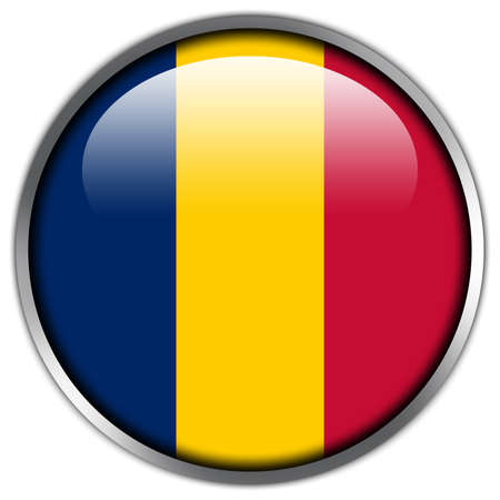 Chad Flag glossy button Stock Photo