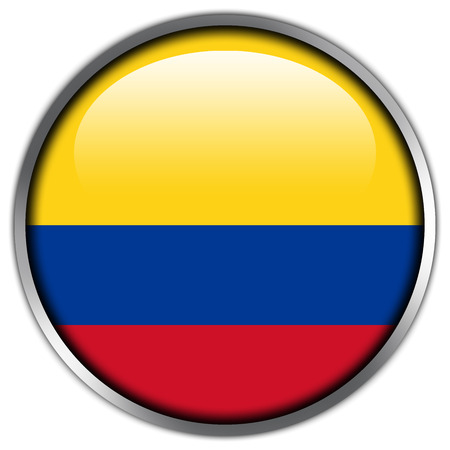 Bot�n brillante de la bandera de Colombia photo