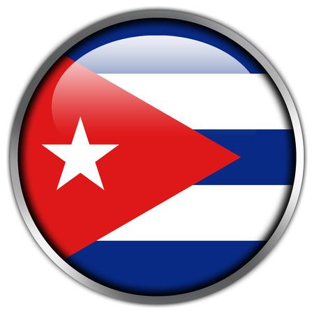 bandera cuba: Bot�n brillante de la bandera de Cuba Foto de archivo