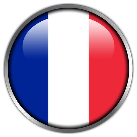 bandera francia: Bot�n brillante de la bandera de Francia