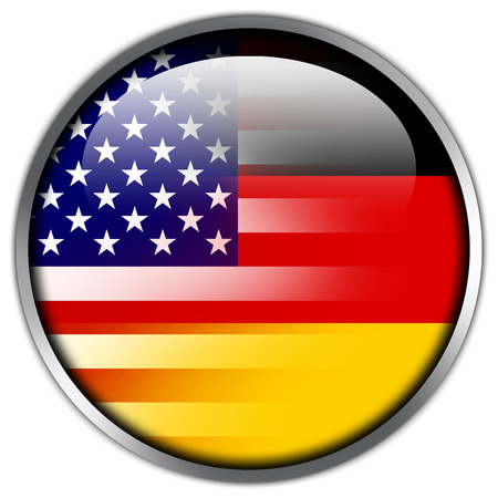 wiretapping: USA and Germany Flag glossy button Stock Photo