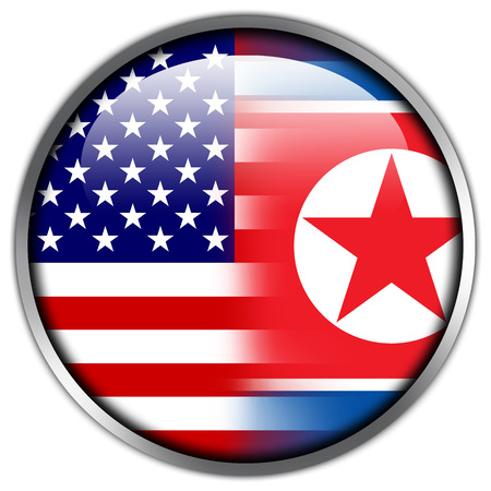 USA and North Korea Flag glossy button photo