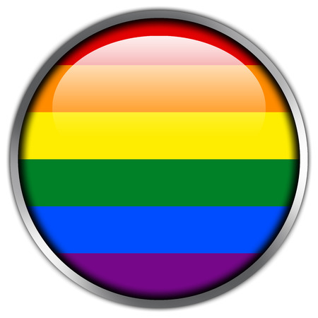 Rainbow Flag glossy button Stock Photo