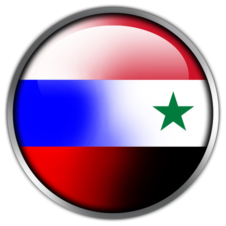 Russia and Syria Flag glossy button photo