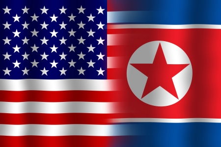 Waving USA and North Korea Flag photo