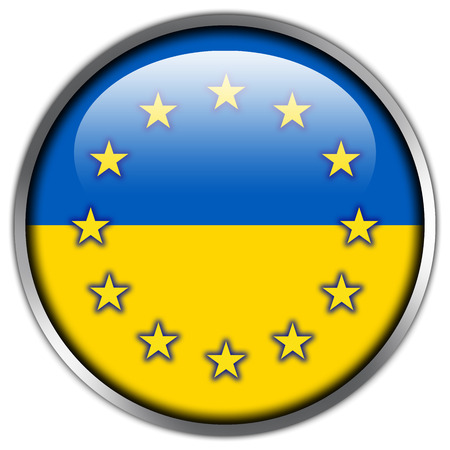 unification: EU and Ukraine Flag glossy button