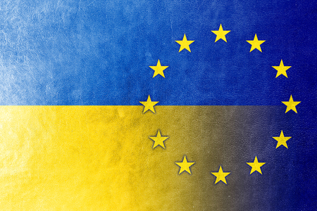 EU and Ukraine Flag painted on leather texture Stock Photo - 24658386