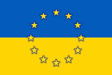 unification: Ukraine and EU Flag