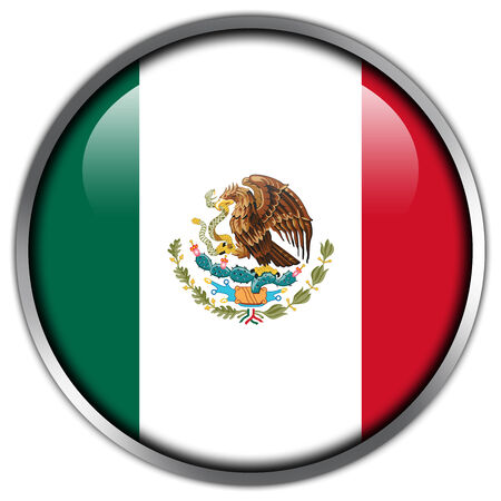 Mexico Flag glossy button photo