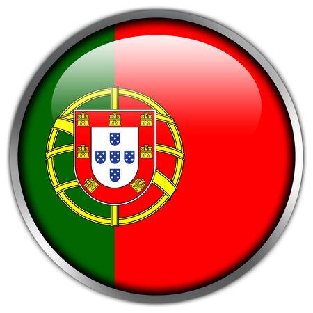drapeau portugal: Drapeau du Portugal bouton brillant Banque d'images