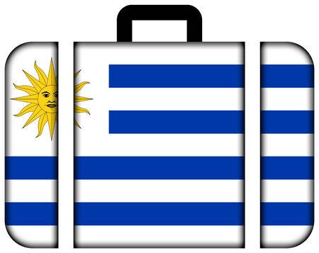 bandera de uruguay: Maleta con la bandera de Uruguay Foto de archivo