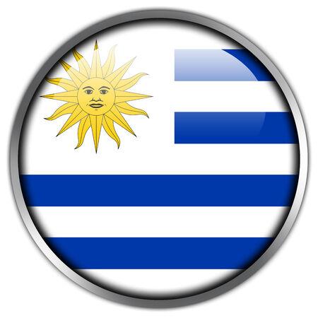 bandera de uruguay: Bot�n brillante de la bandera de Uruguay Foto de archivo