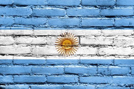 argentina flag: Argentina Flag painted on brick wall Stock Photo