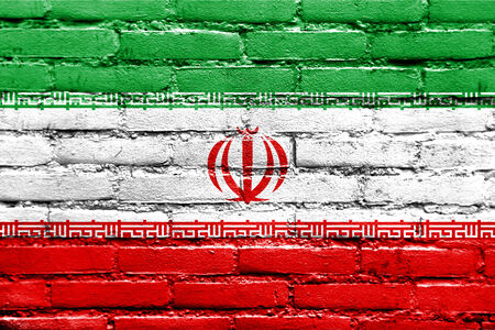 Iran Flag painted on brick wall photo
