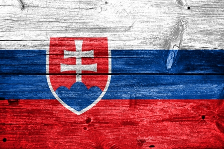 Slovakia Flag painted on old wood plank texture