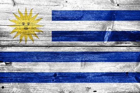 bandera de uruguay: Bandera de Uruguay pintado en vieja textura de madera del tabl�n Foto de archivo