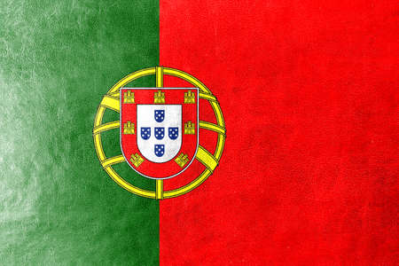 Portugal Flag painted on leather texture photo