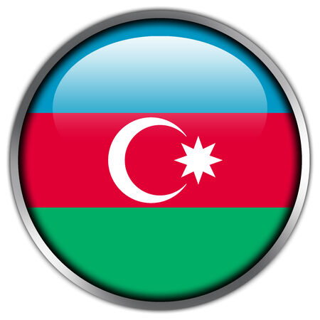 azerbaijan: Azerbaijan Flag glossy button Stock Photo