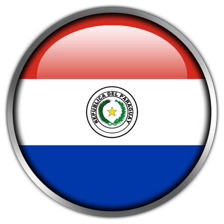 bandera de paraguay: Bot�n brillante de la bandera de Paraguay Foto de archivo