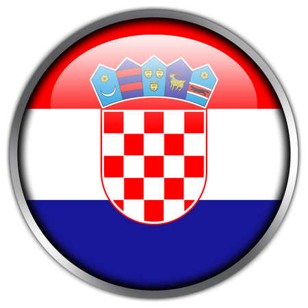 Croatia Flag glossy button photo