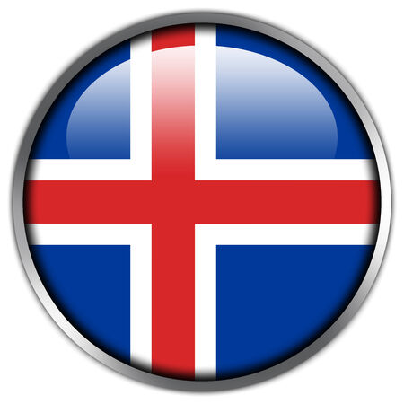 iceland: Iceland Flag glossy button