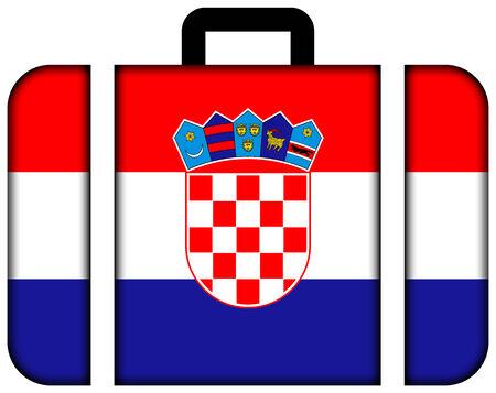 bandiera croazia: Valigia con Bandiera Croazia Archivio Fotografico
