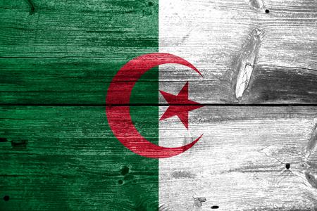 algerian flag: Algeria Flag painted on old wood plank texture