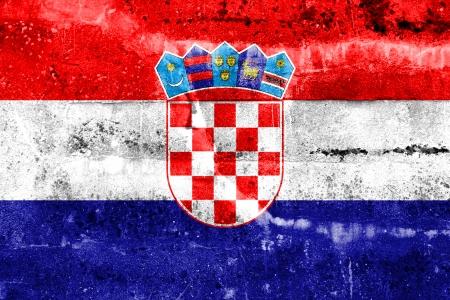 bandiera croazia: Croazia bandiera dipinta sulla parete del grunge Archivio Fotografico