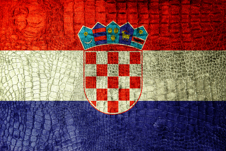 Croatia Flag painted on luxury crocodile texture photo