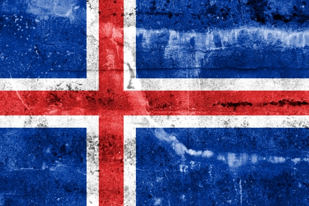flag of iceland: Bandera de Islandia pintado en la pared del grunge