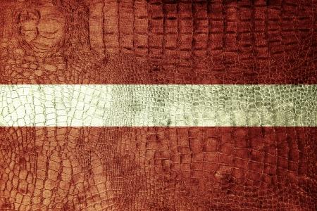 spangled: Latvia Flag painted on luxury crocodile texture Stock Photo