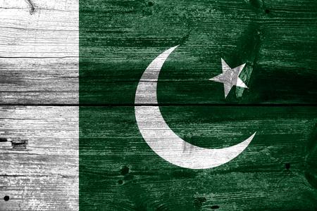 pakistan flag: Pakistan Flag painted on old wood plank texture