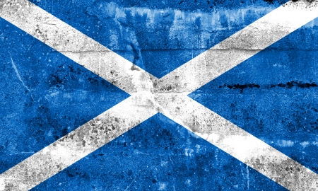 disintegrate: Scotland Flag painted on grunge wall