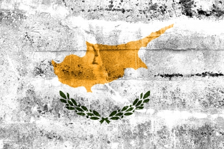 disintegrate: Cyprus Flag painted on grunge wall