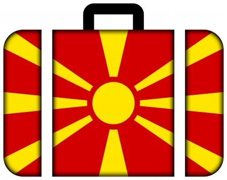 macedonia: Suitcase with Macedonia Flag