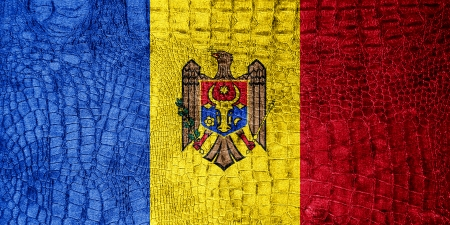 Moldova Flag painted on luxury crocodile texture photo