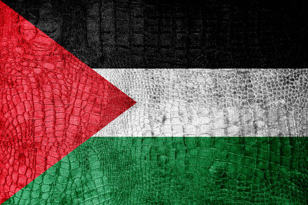 Palestina vlag geschilderd op luxe krokodil textuur