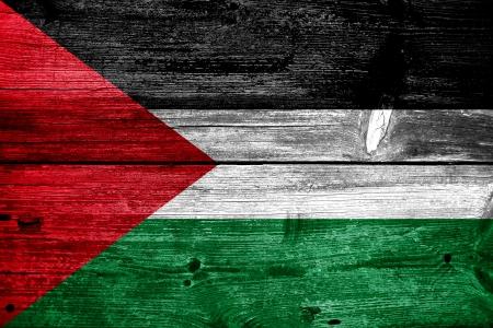 Palestine Flag painted on old wood plank texture photo
