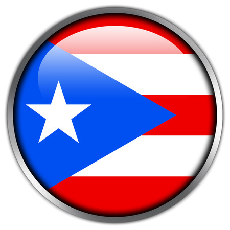 Puerto Rico Flag glossy button Stock Photo
