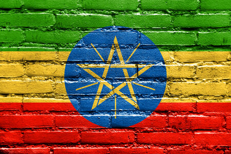 Ethiopia Flag painted on brick wall photo