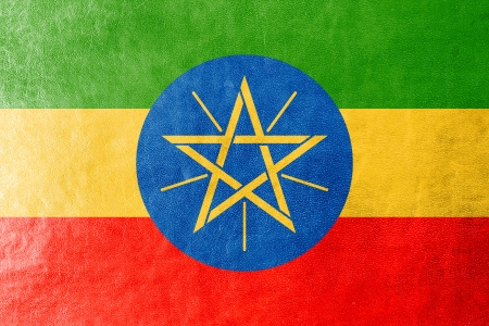 ethiopia abstract: Ethiopia Flag painted on leather texture