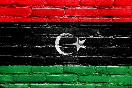 Libya Flag painted on brick wall photo