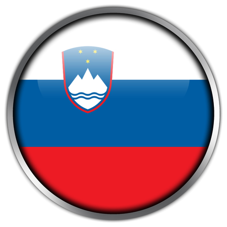 Slovenia Flag glossy button photo