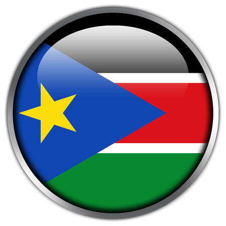 sudan: South Sudan Flag glossy button