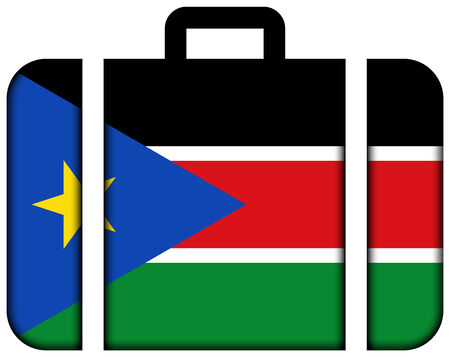 south sudan: Suitcase with South Sudan Flag Stock Photo
