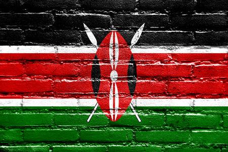 proportional: Kenya Flag painted on brick wall Stock Photo