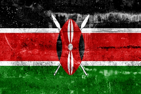 Kenya Flag painted on grunge wall photo